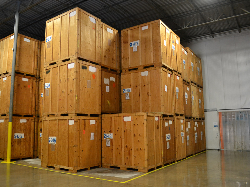 crates in climate controlled storage at logistics warehouse