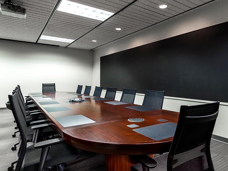 large table in conference room of large florida law office