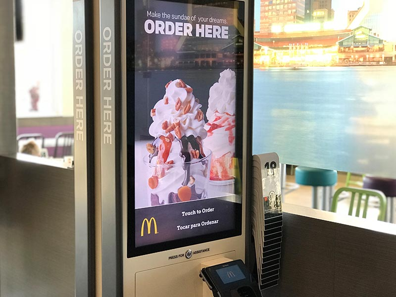 ffe kiosk order technology at mcdonalds restaurant