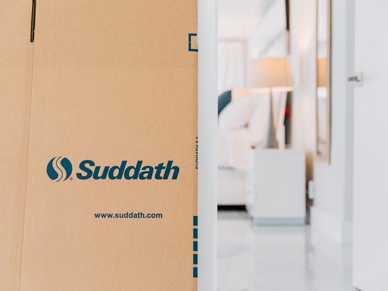 suddath moving box outside bedroom