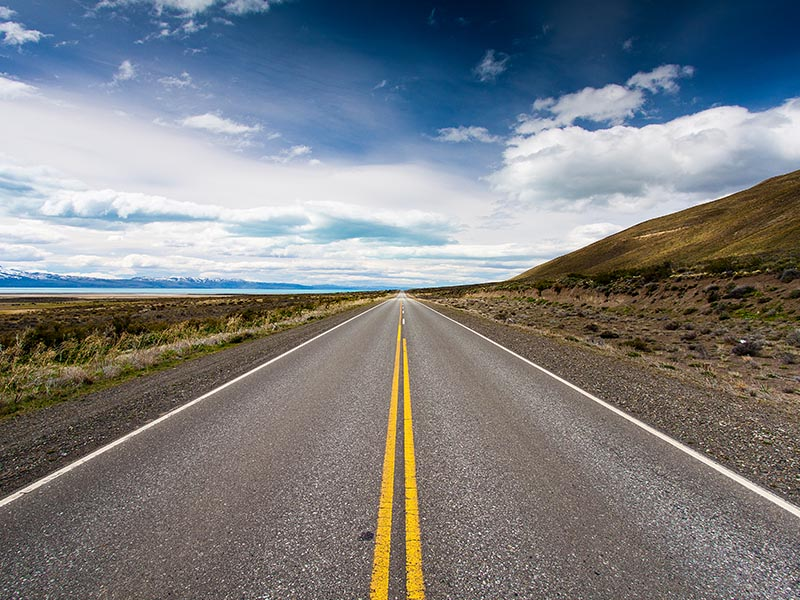 truck view of open road horizon